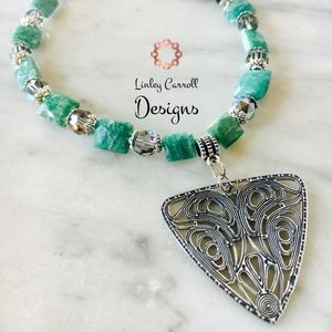 Jewelry - Amazonite & Swarovski Black Diamond Necklace